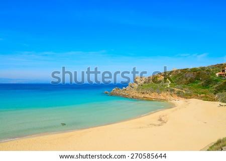 Rena Bianca beach on a clear spring day, Sardinia - stock photo