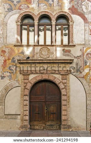 Renaissance architecture - palace in Trento, Italy - stock photo