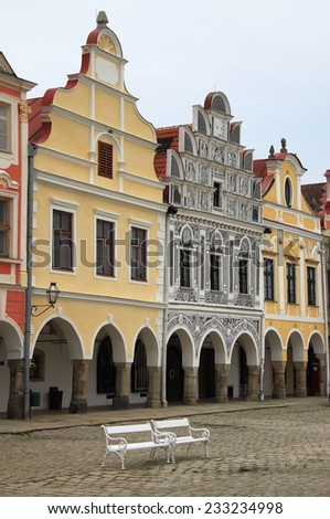 Renaissance houses in the main square of Telc, Czech Republic - stock photo