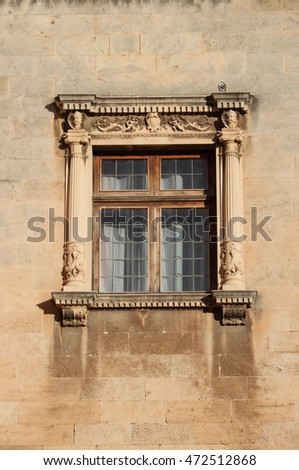 Renaissance window in Palma de Mallorca, Spain