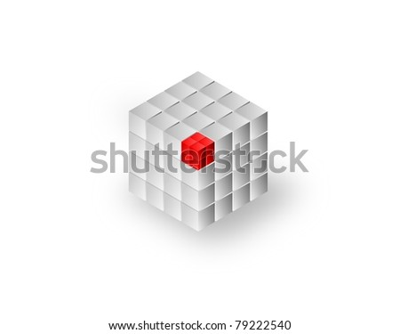 render business concept. Set of 8 small red cubes completing a large cubes architecture - stock photo