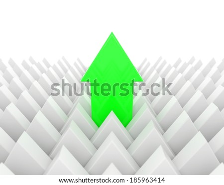 render 3d illustration of a green arrow standing out of a mass of white arrows