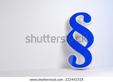 render illustration of a blue 3d paragraph leaning against a wall - stock photo