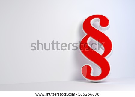 render illustration of a red 3d paragraph leaning against a wall - stock photo
