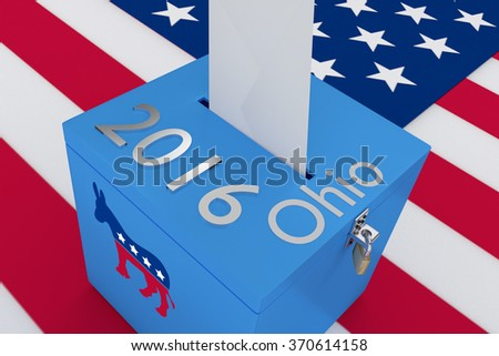 Render illustration of 2016 and Ohio titles with the donkey icon on ballot box , isolated on white, with US flag as a background. - stock photo