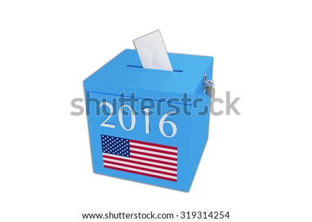 Render illustration of ballot box with the print 2016 and the United States flag