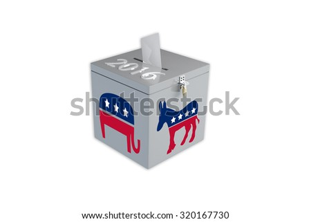Render illustration of ballot box with the print 2016, the Republican elephant image and Democratic donkey image, isolated on white. - stock photo