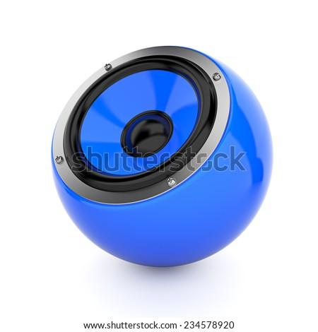 Render illustration of blue sound speaker on white - stock photo
