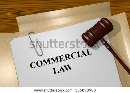 Render illustration of Commercial Law title on Legal Documents