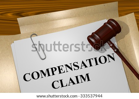 Render illustration of Compensation Claim Title On Legal Documents - stock photo