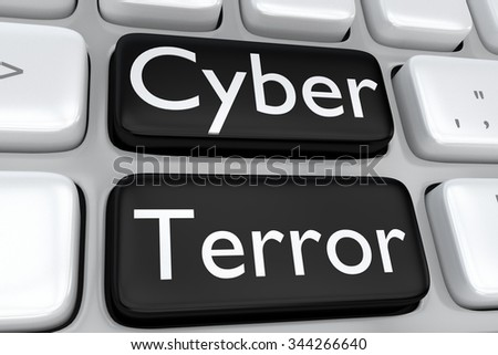 Render illustration of computer keyboard with the print Cyber Terror on two adjacent black buttons - stock photo