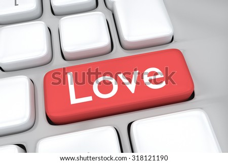 Render illustration of computer keyboard with the print Love on a red button. Online love concept.