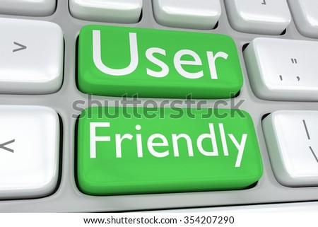Render illustration of computer keyboard with the print User Friendly on two adjacent green buttons - stock photo