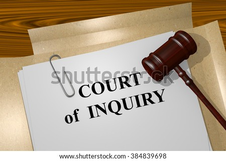 Render illustration of Court of Inquiry title on Legal Documents