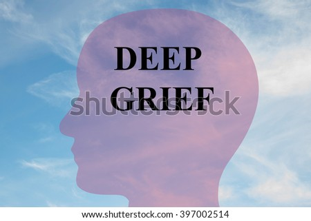 Render illustration of DEEP GRIEF script on head silhouette, with cloudy sky as a background. Human mental concept. - stock photo