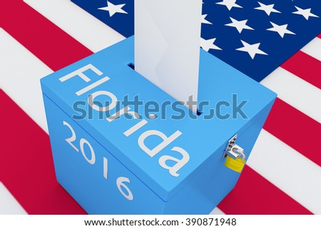 Render illustration of Florida, 2016 titles on ballot box, with US flag as a background. Election Concept.