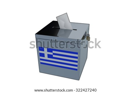 Render illustration of Greek election ballot box, isolated on white.