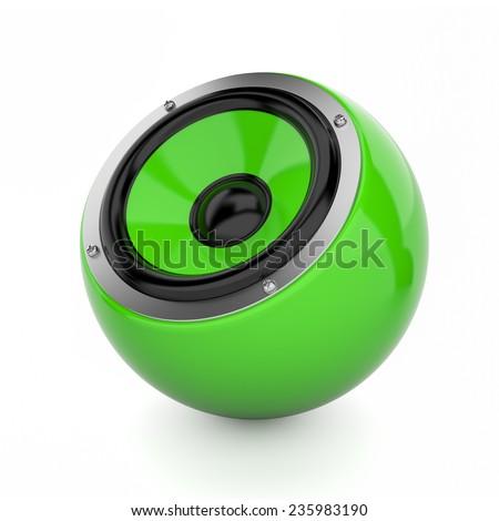 Render illustration of green sound speaker on white - stock photo