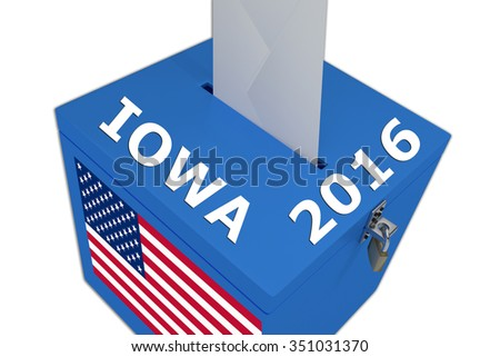 Render illustration of Iowa 2016 title on ballot  box, isolated on white. - stock photo