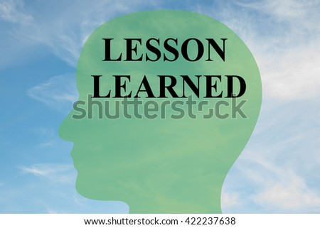 "Render illustration of ""LESSON LEARNED"" script on head silhouette, with cloudy sky as a background. Human mental concept. - stock photo"