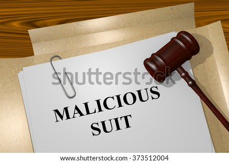 Render illustration of Malicious Suit title on Legal Documents - stock photo
