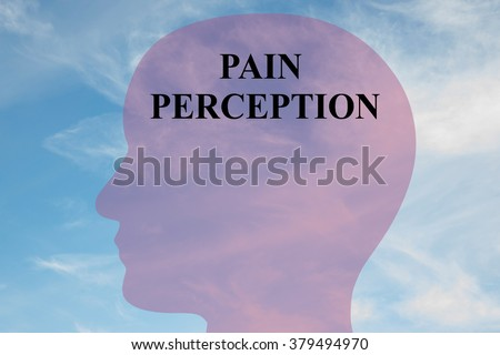 Render illustration of Pain Perception title on head silhouette, with cloudy sky as a background. - stock photo