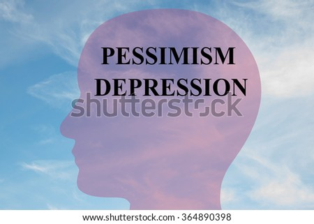 Render illustration of Pessimism Depression title on head silhouette, with cloudy sky as a background. - stock photo