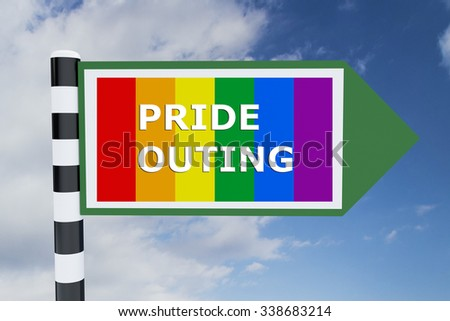Render illustration of Pride Outing Title on road sign, with Pride flag as background
