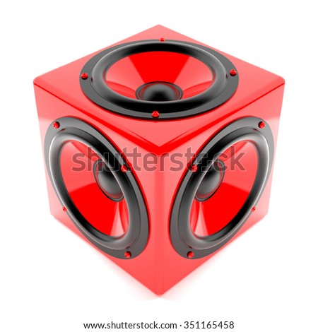 Render illustration of red sound speakers on cube - stock photo