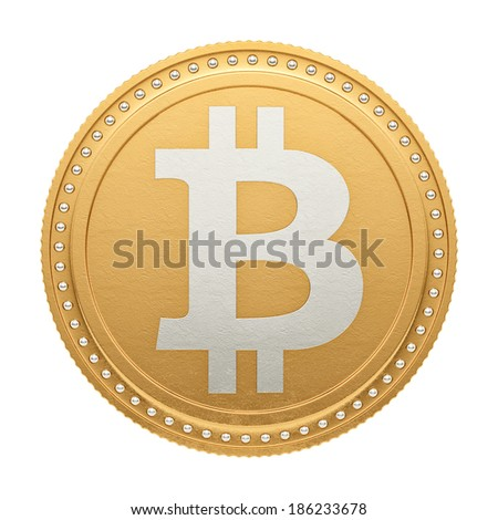 render of a bitcoin, isolate on white - stock photo