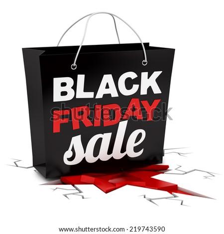 render of a Black Friday shopping bag crushing ground, isolated on white - stock photo