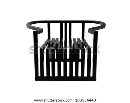 Render of a Black Modern Chinese Ming Chair isolated on a white background - stock photo