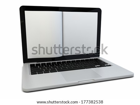 render of a book on the screen of a laptop