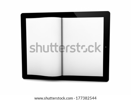 render of a book on the screen of a tablet
