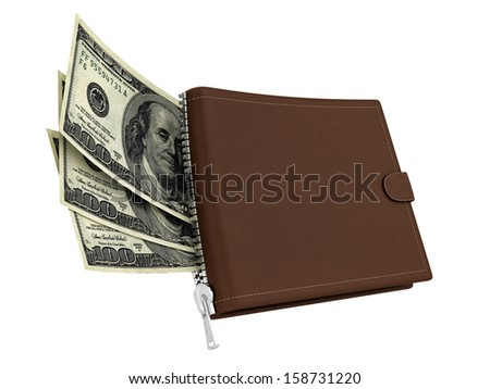 render of a brown leather wallet with dollars, isolated on white