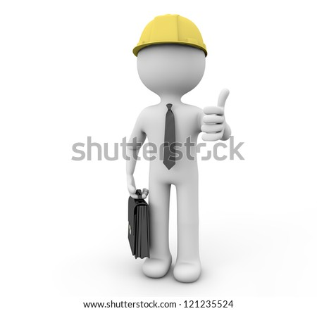 render of a businessman with thumb up and a helmet