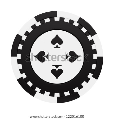 render of a casino chip with black spades, isolated on white - stock photo