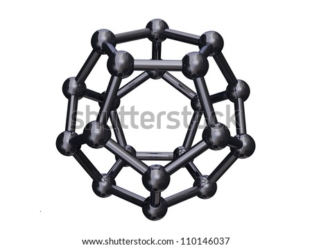 Render of a chrome C20 Cage Fullerene Isolated on a white bacground