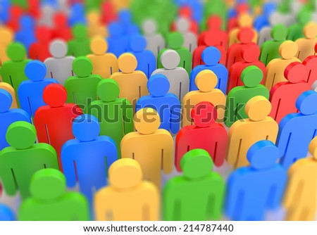 render of a colorful crowd - stock photo
