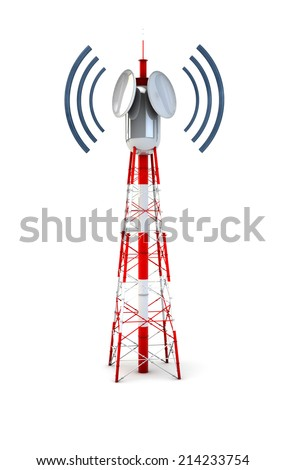 Render of a communication tower - stock photo