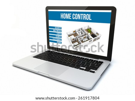 render of a computer with home automation software on the screen - stock photo