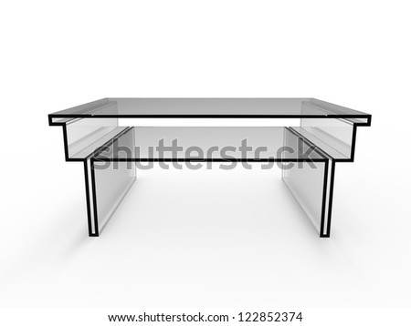 render of a concept coffe table with a white background - stock photo