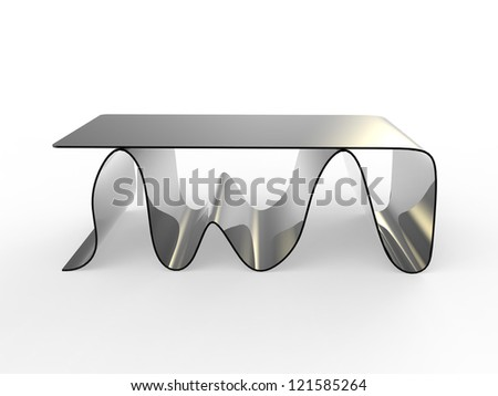 "render of a concept ""wave"" coffe table with a white background - stock photo"