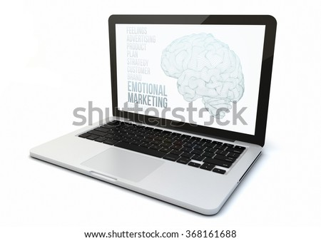 render of a 3d generated computer with emotional marketing website on the screen. Screen graphics are made up.