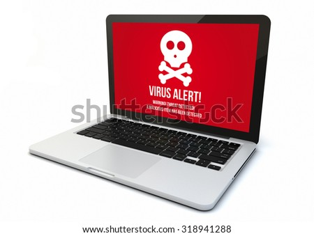 render of a 3d generated computer with virus alert on the screen. Screen graphics are made up. - stock photo