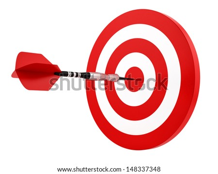 render of a dart hitting the target, isolated on white