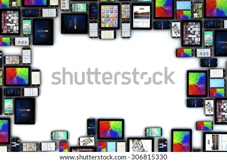 render of a devices collection with blank space in the middle. All screen graphics are made up. - stock photo