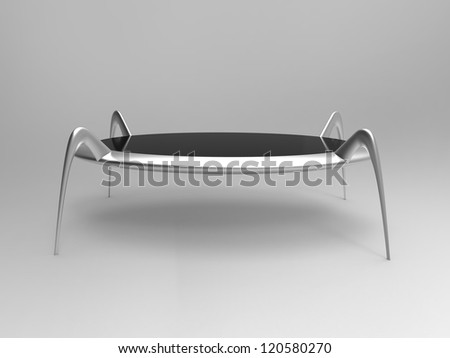Render of a futuristic table in chrome with gray background