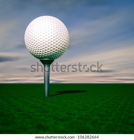 Render of a golf ball - stock photo