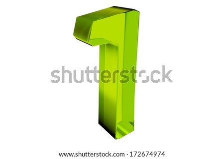 render of a green number one